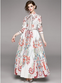 Pretty Fashion High Waist Shirt Collar Flowers Maxi Dress