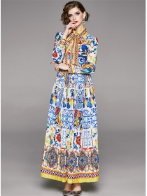 Charming Lady Shirt Collar Flowers Pleated Maxi Dress