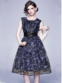 Wholesale New Gilding Blet Waist Organza Fluffy Tank Dress
