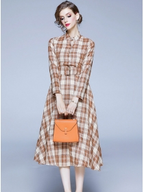 Classic Fashion High Waist Plaids Long Sleeve A-line Dress