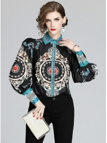 Retro Wholesale Flowers Printings Puff Sleeve Blouse