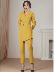 Handsome Lady Tailored Collar Tie Waist Slim Long Suits