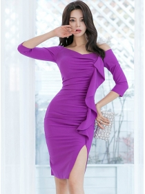 Modern Lady Boat Neck Pleated Flouncing Skinny Dress