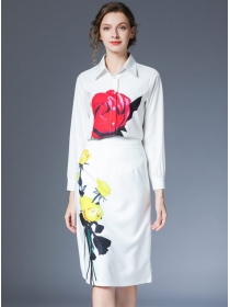 Europe Spring Shirt Collar Flowers Slim Two Pieces Dress