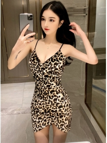 Sexy Korea Cross V-neck Leopard Straps Skinny Dress