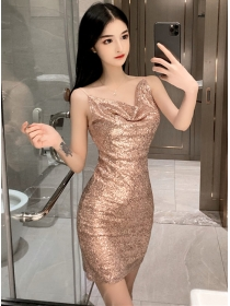 Wholesale Sexy 3 Colors Heaps Collar Sequins Straps Dress