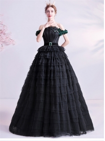 Brand New Boat Neck Layered Flouncing Prom Dress