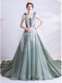 Modern New Gauze Flowers Embroidery Flouncing Party Dress