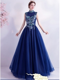 Retro Fashion Flowers Embroidery Backless Prom Dress