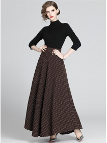Europe Stylish Knitting Tops with Plaids Long Skirt