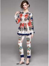 Europe Charming Flouncing Flowers Slim Long Suits