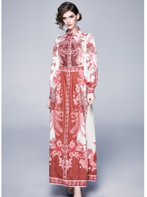 Europe Spring New 2 Colors Shirt Collar Flowers Maxi Dress