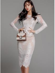 Grace OL 2 Colors Lace Transparent Skinny Two Pieces Dress