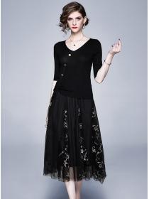 Europe Spring V-neck Knitting Tops with Stars Gauze Skirt