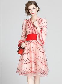 Charming Flowers Embroidery Flare Sleeve Gauze Dress