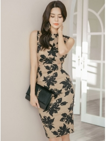 Grace Sexy Backless Bowknot Flowers Skinny Tank Dress