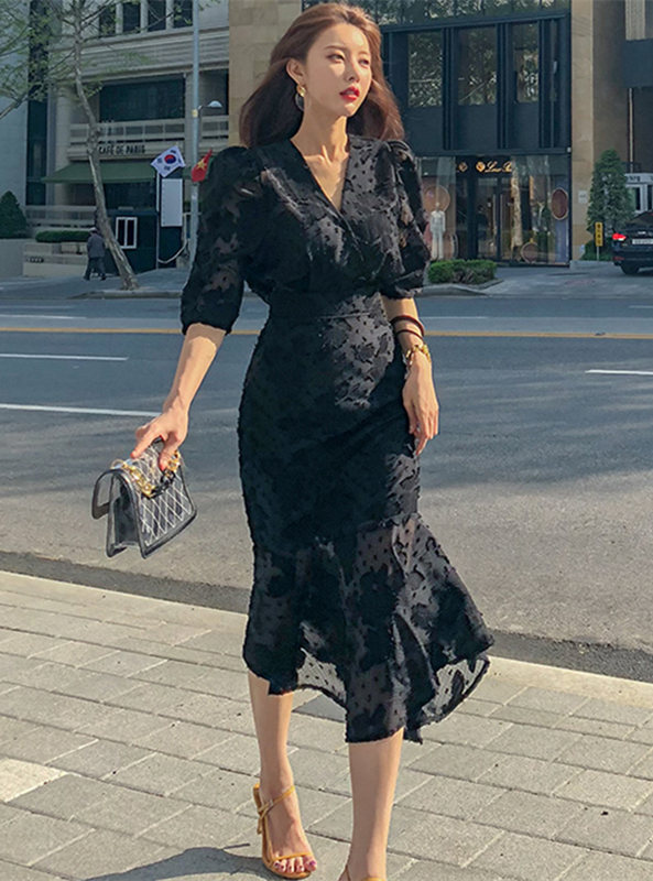 Modern Lady V-neck Fishtail Puff Sleeve long Dress