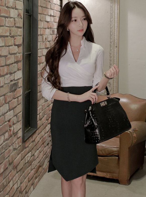 Grace Fashion V-neck Splicing Mid-sleeve Slim Dress