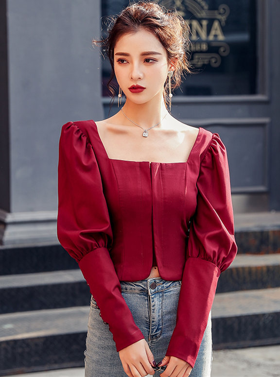 Spring New Square Collar Puff Sleeve Short Blouse