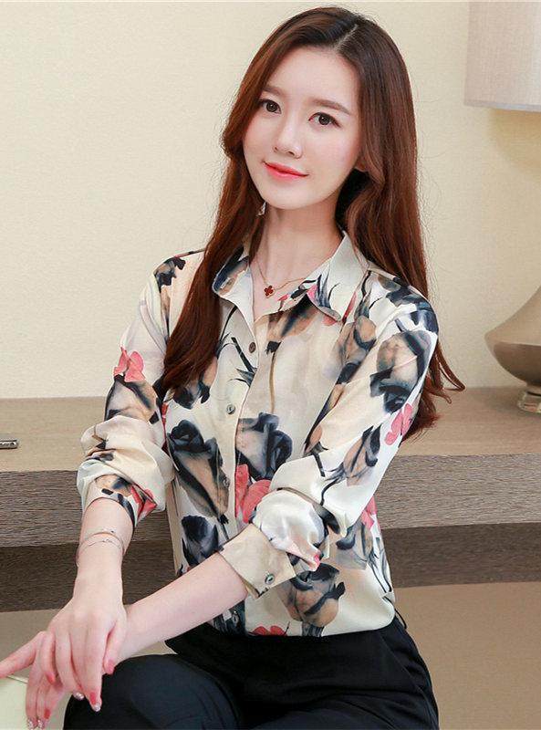 Retro Spring Fashion Flowers Chiffon Long Sleeve Blouse