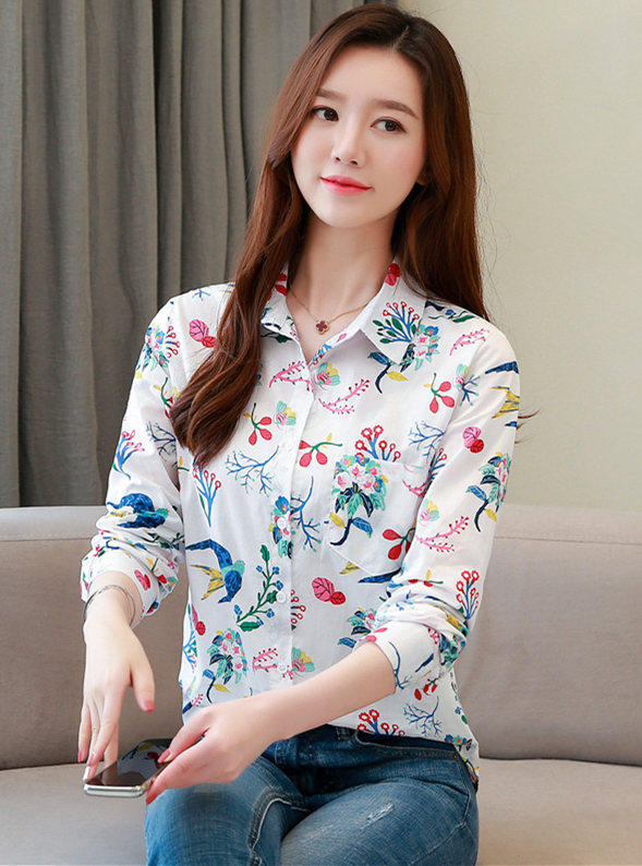 Spring Wholesale Shirt Collar Flowers Long Sleeve Blouse