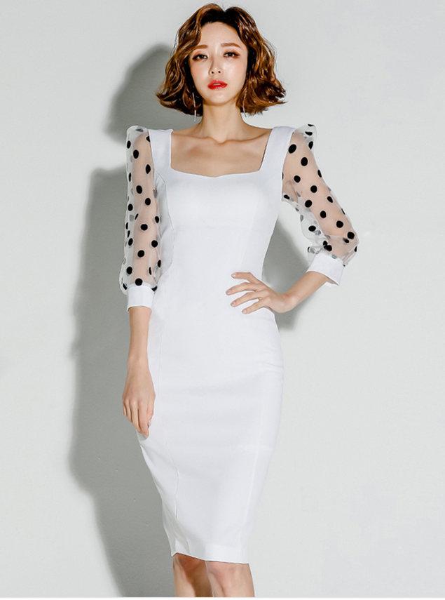 Modern Lady Square Collar Dots Gauze Sleeve Bodycon Dress