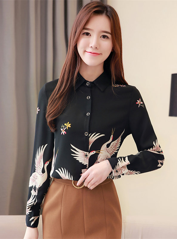 Retro Korea Crane Printings Long Sleeve Chiffon Blouse