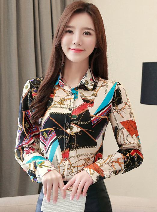 Korea Spring Fashion Color Block Long Sleeve Blouse