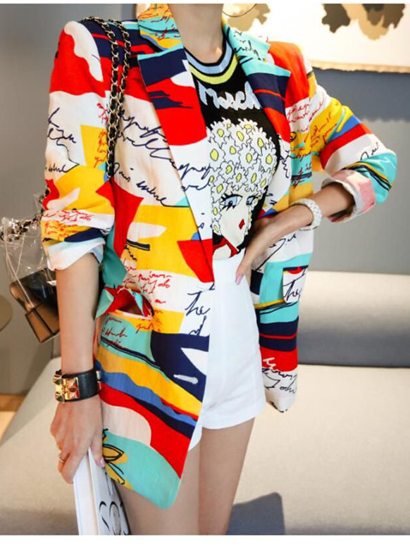 Street Fashion Tailored Collar Color Block Printings Jacket