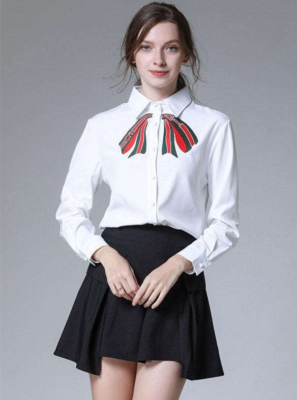Preppy Fashion Bowknot Embroidery Blouse with A-line Skirt