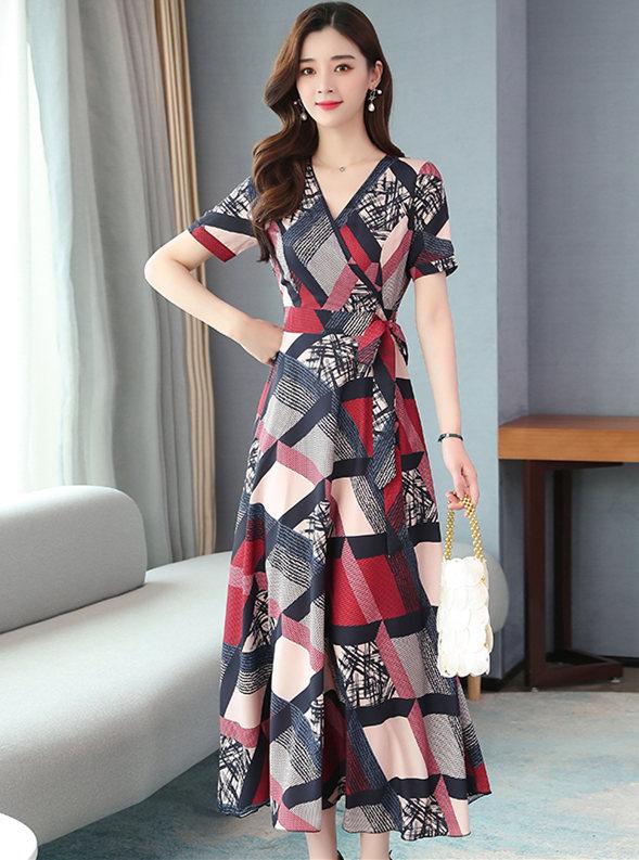 Retro Korea V-neck Tie Waist Plaids Flowers Chiffon Dress