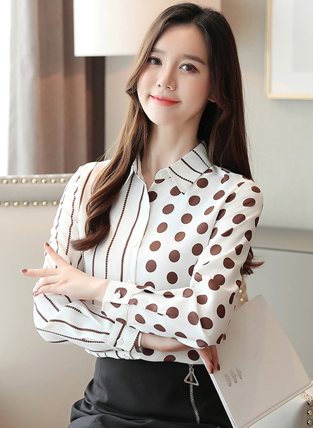 Spring New Stripes Dots Long Sleeve Chiffon Blouse