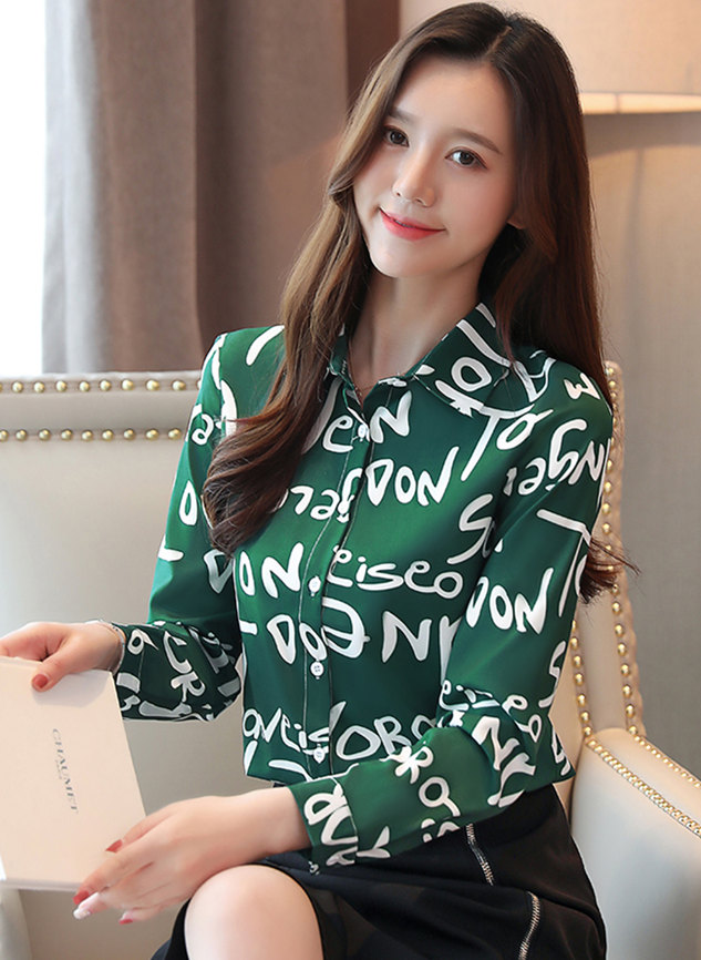 Spring New 2 Colors Letters Printings Long Sleeve Blouse
