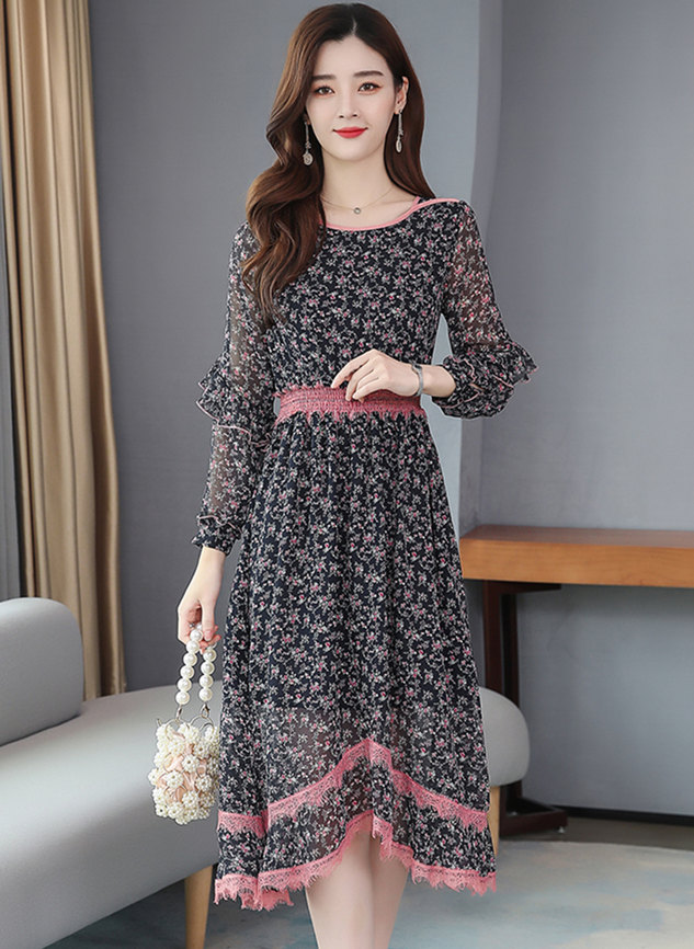Korea Spring New Round Neck Flowers Chiffon Dress