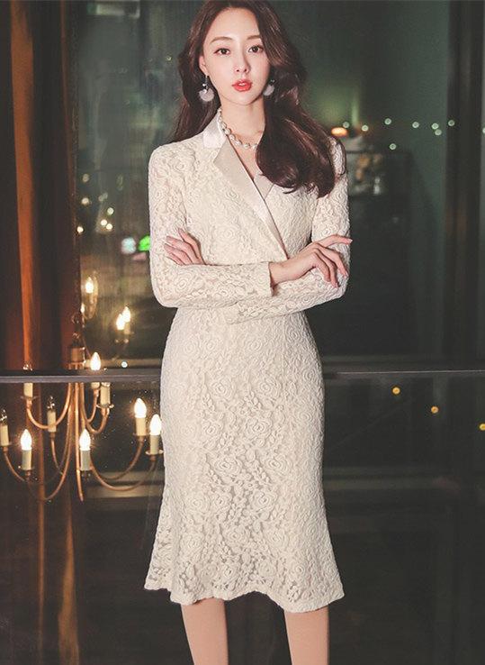 Grace Fashion Tailored Collar Lace Bodycon Dress