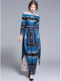 2020 New Fashion Color Block Flowers Shirt Maxi Dress