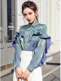 Fashion Korea 2 Colors Flouncing Shining Loosen Blouse