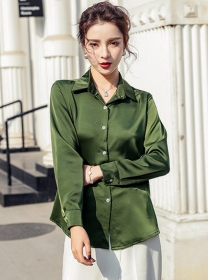 Spring New 2 Colors Shirt Collar Long Sleeve Blouse