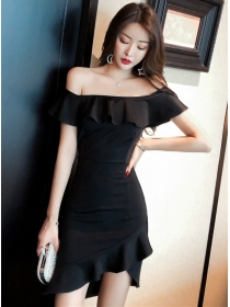 Wholesale Sexy Flouncing Boat Neck Fishtail Slim Dress