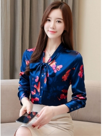 Retro Korea Tie Bowknot Collar Flowers Long Sleeve Blouse