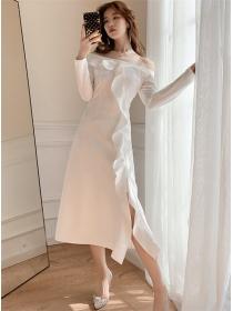 Spring Fashion Boat Neck Flouncing Split Long Dress