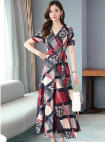 Retro Korea V-neck Tie Waist Plaids Flowers Chiffon Dress