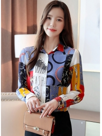 Korea Spring Fashion Color Block Printings Chiffon Blouse