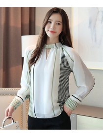 Retro Fashion Houndstooth Puff Sleeve Chiffon Blouse