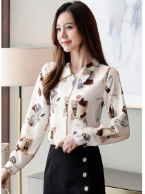 Wholesale Korea Doll Collar Printings Chiffon Blouse