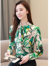 Wholesale Korea Tie Collar Flowers Chiffon Blouse