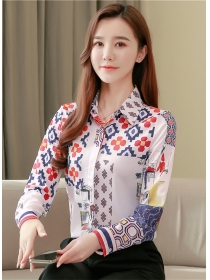 Fashion Spring Turn-down Collar Flowers Long Sleeve Blouse
