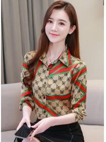 Pretty Fashion Bowknots Printings Loosen Long Sleeve Blouse