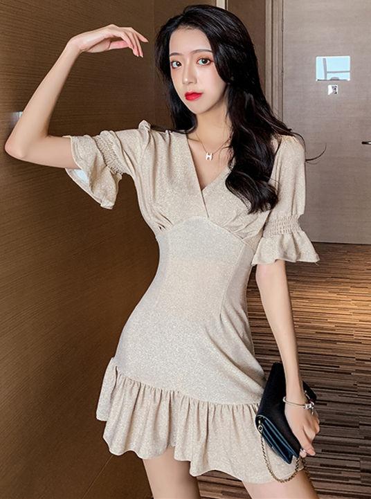 Modern Lady V-neck Flare Sleeve Shining Fishtail Dress
