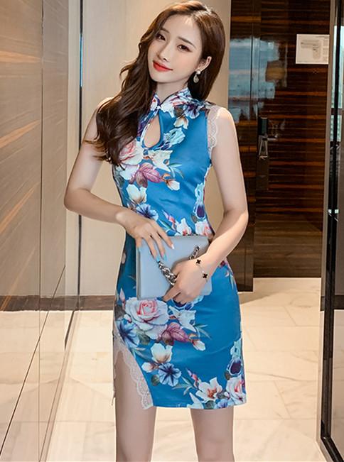 Retro Wholesale Flowers Printings Lace Splicing Tank Dress
